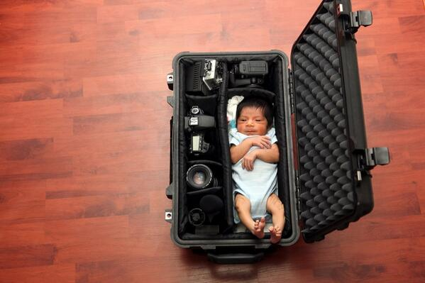 baby in a case