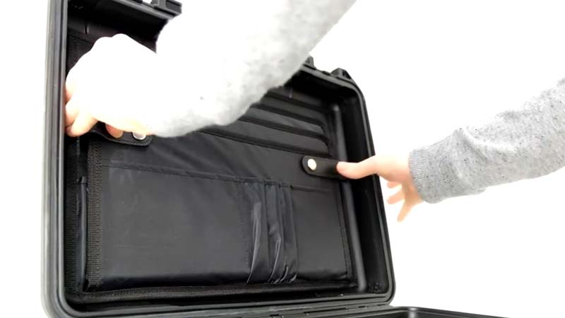 A Peli lid organiser fitted into a case